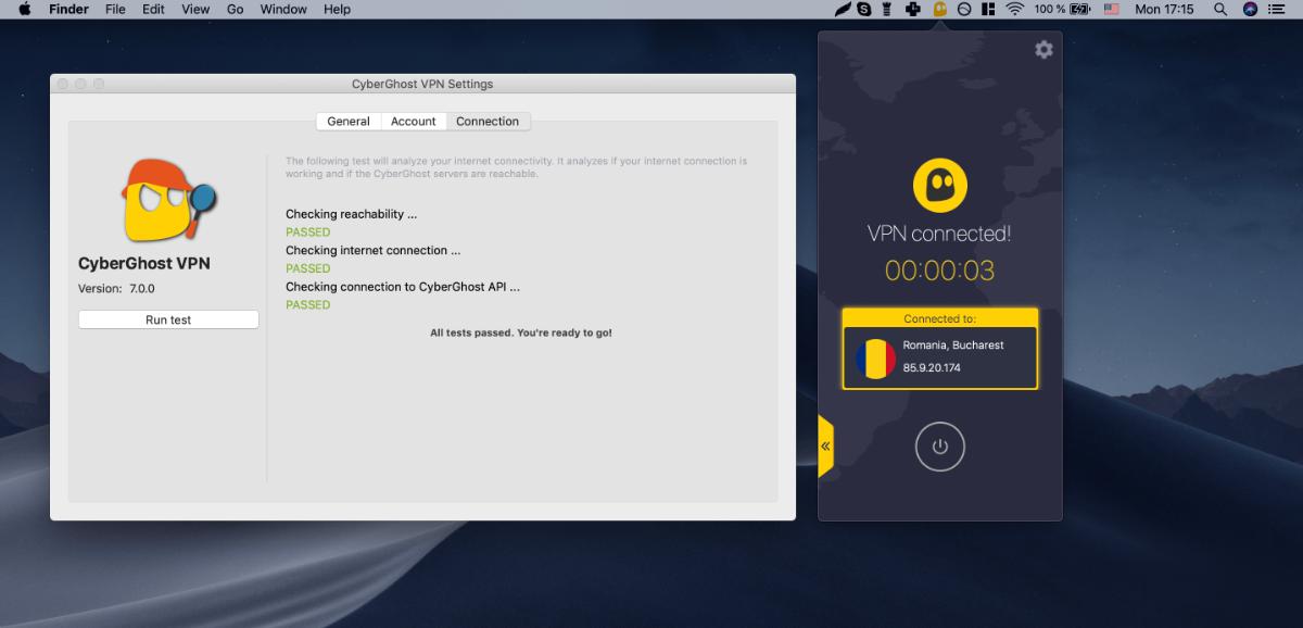 cyberghost connectie test op macbook