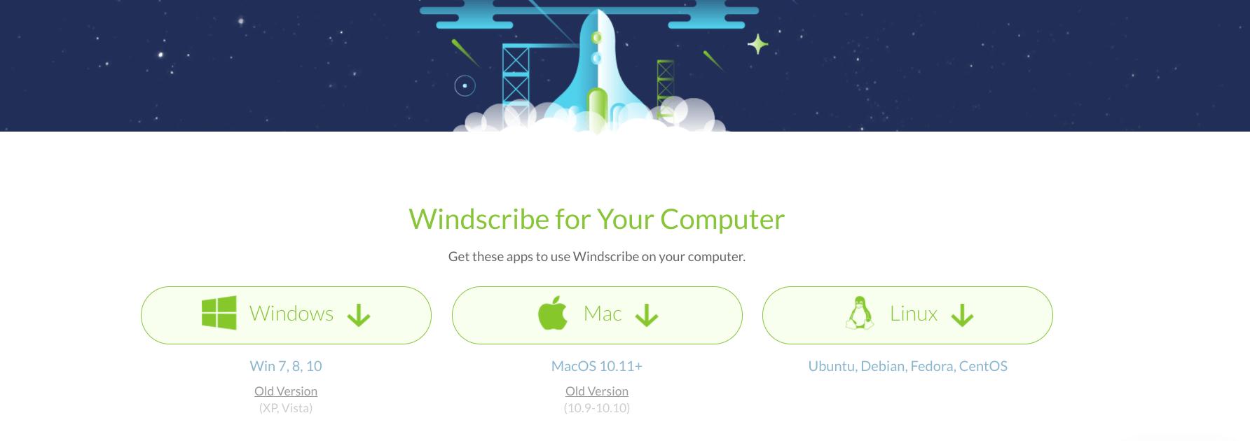 desktop downloads voor windscribe