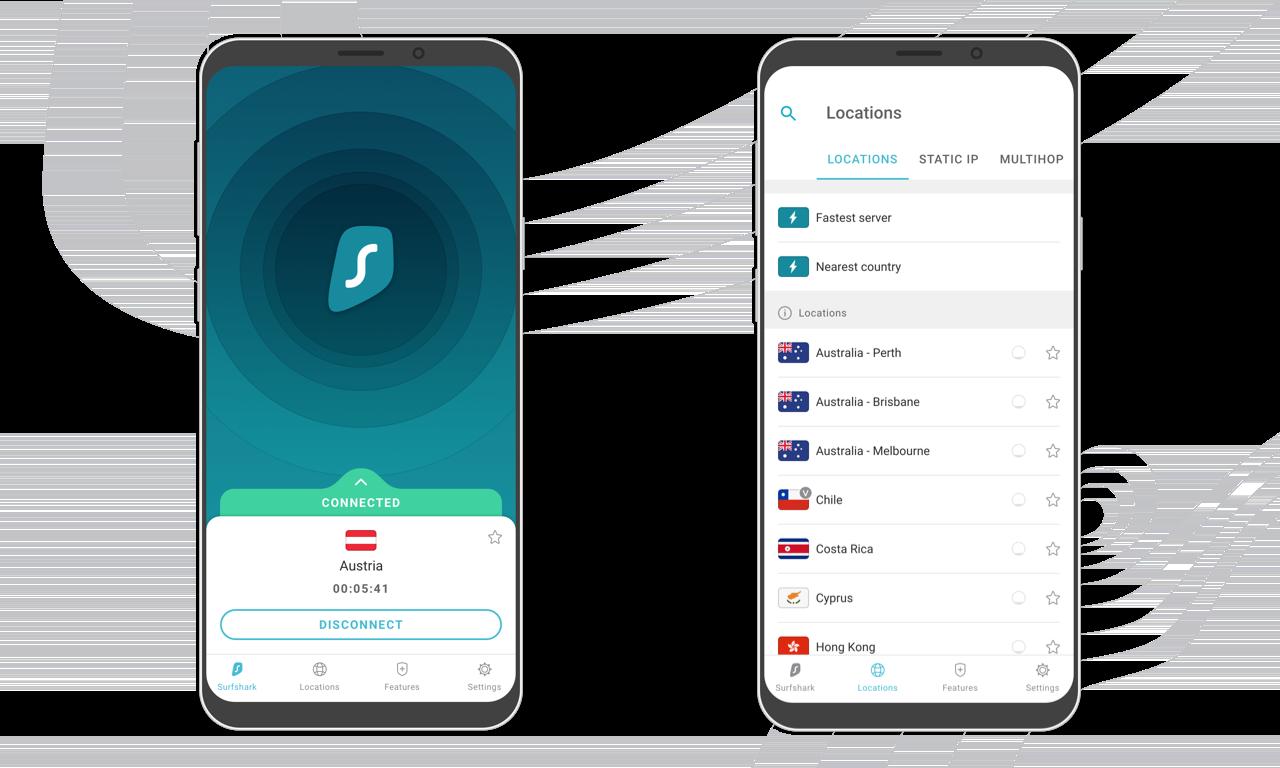surfshark app op een smartphone