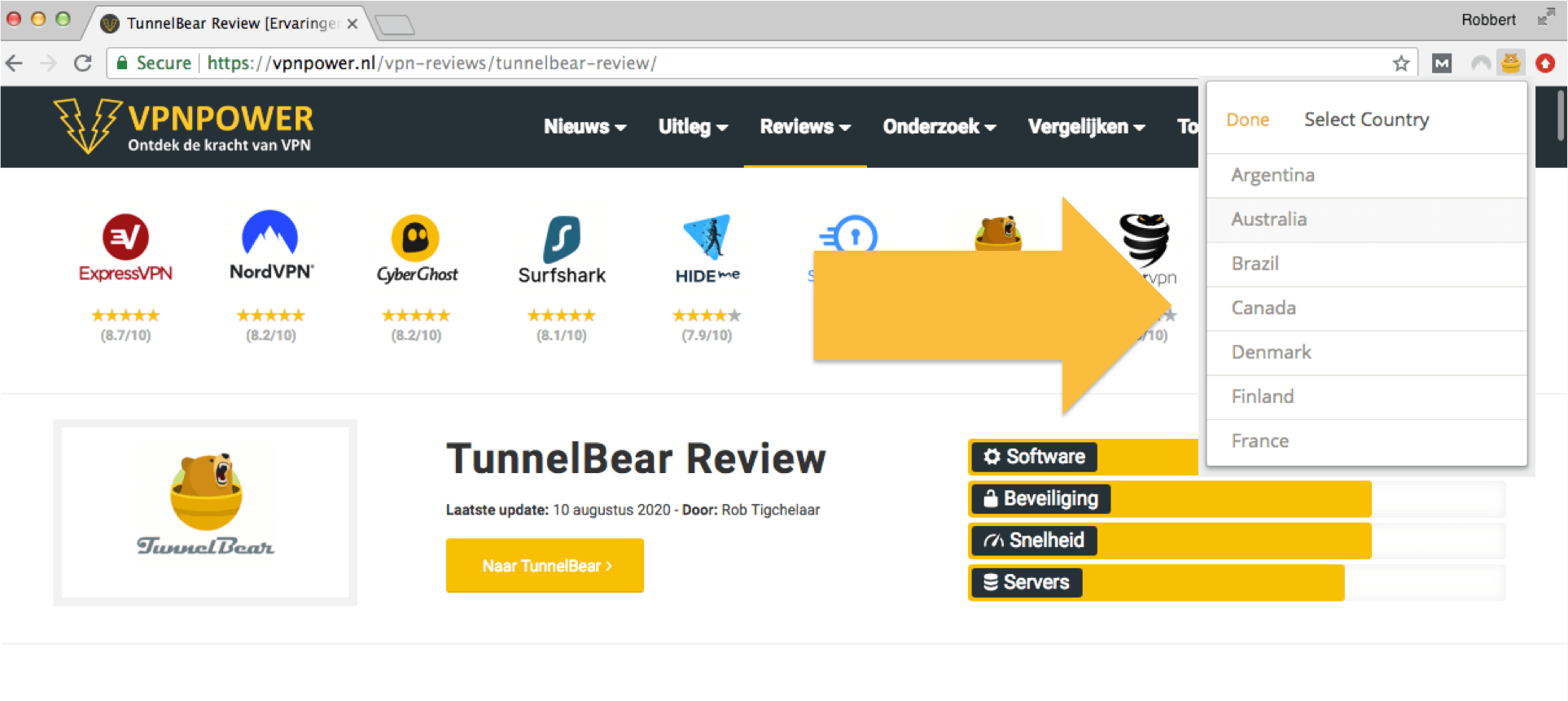 tunnelbear chrome extensie review