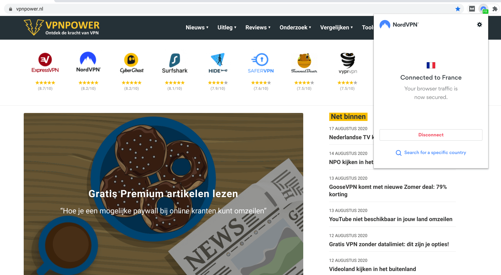 franse VPN server NordVPN