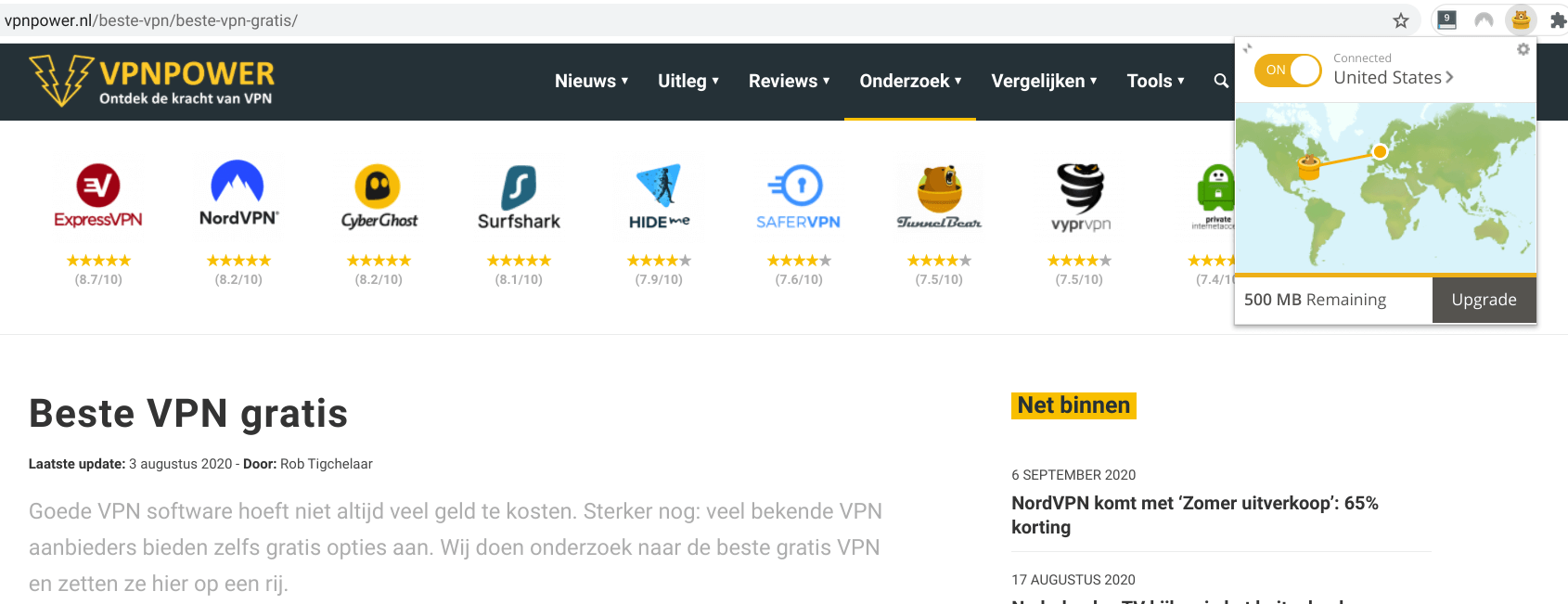tunnelbear beste vpn gratis extensie